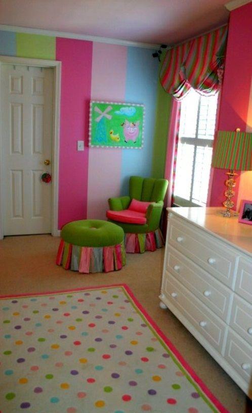 Kinderzimmer streichen - 20 bunte Dekoideen Wände Pinterest - gestalten rosa kinderzimmer kleine prinzessin