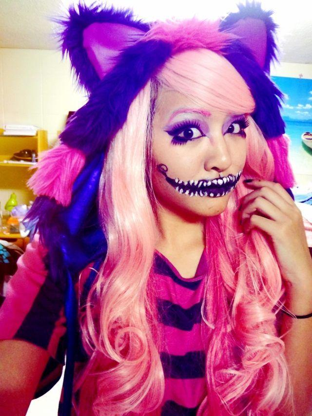 grinsekatze kost m idee lila pink kappe rosa per cke schminke halloween grinsekatze kost m