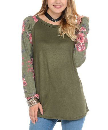 80358229 Loving this Olive Floral-Sleeve Scoop Neck Tunic - Plus on #zulily! # zulilyfinds