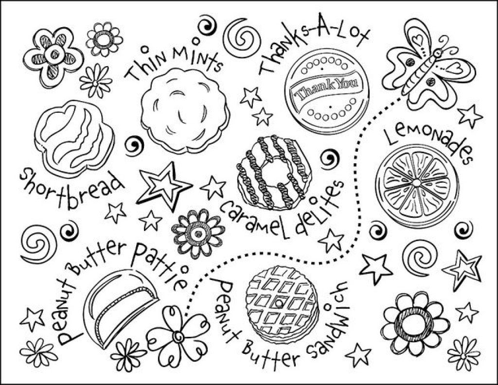 Cool Free Cookie Coloring Pages Girl Scout Cookie Sheets Jar Page