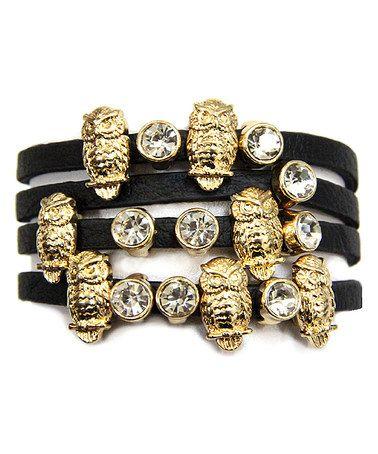 Gold & Glass Owl Wrap Bracelet by MOA International Corp #zulily #zulilyfinds