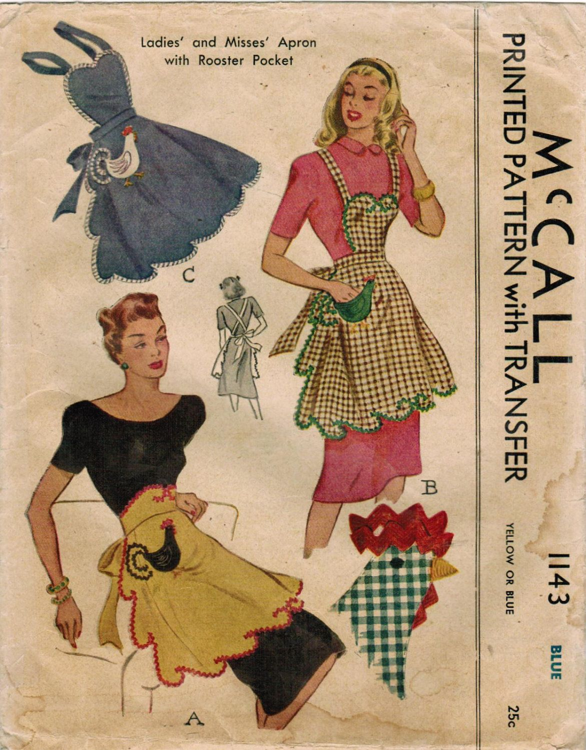 1940s McCall 1143 Vintage Sewing Pattern Misses\' Apron with Rooster ...