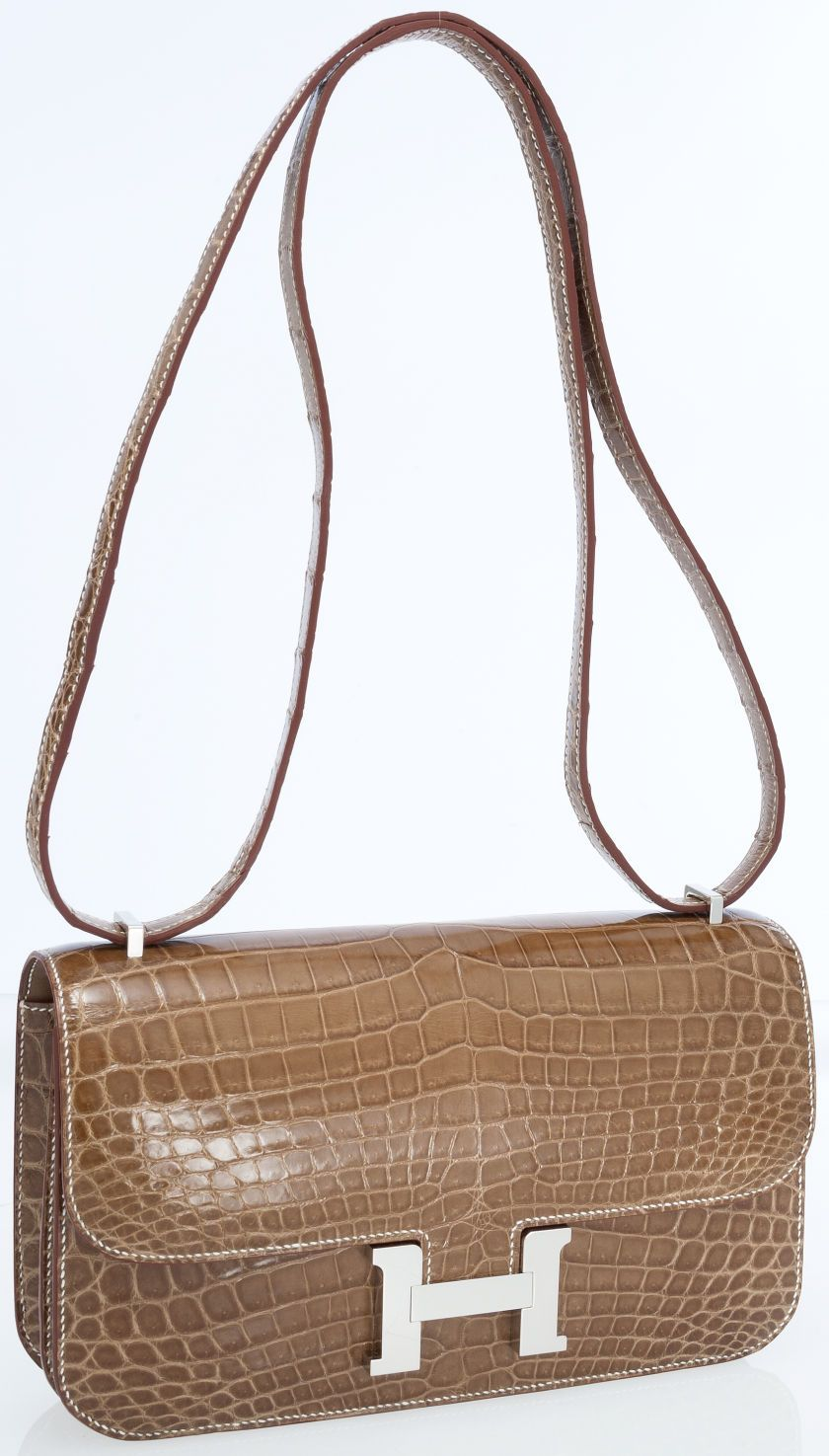 Hermes Shiny Ficelle Nilo Crocodile Double Gusset Constance Elan Bag with Palladium Hardware  | The House of Beccaria ~