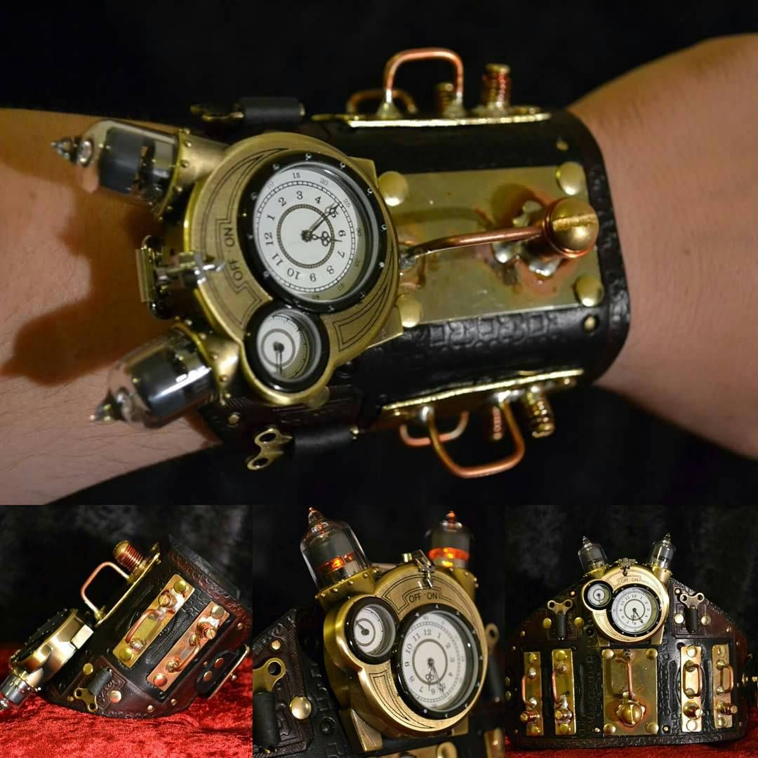 Transplanted My Tesla Watch From Its Original Band To One I Made Leather Brass Copper Leatherwork Thinkgeek Steampunk Metalwork Geekfamous