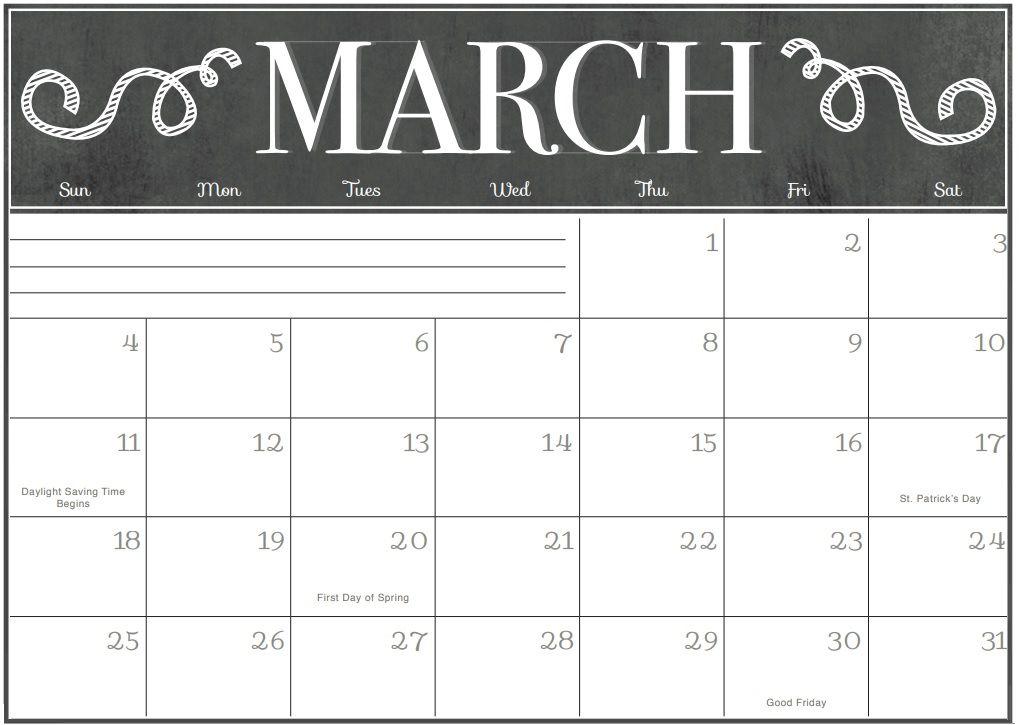 march 2018 calendars