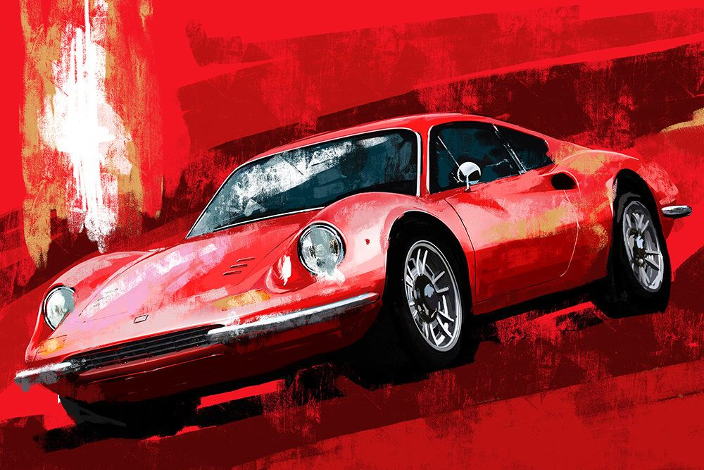 Ferrari Dino Red Painting Large Wall Art Wall Hangings Decor Etsy Automotive Art Red Painting Large Wall Art