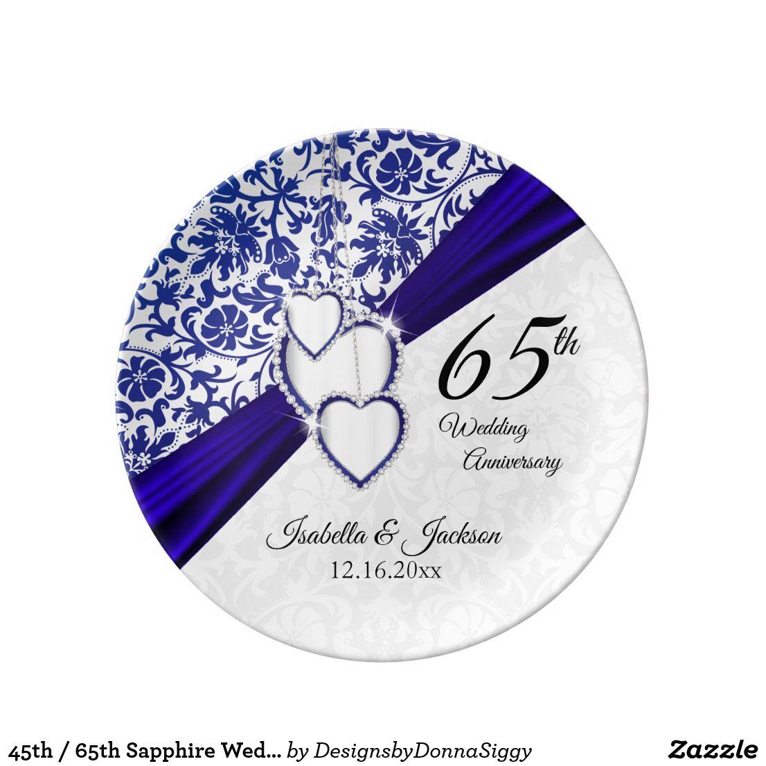 45th / 65th Sapphire Wedding Anniversary Dinner Plate