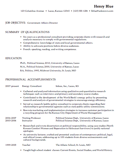 Free Resume Samples For Government Jobs - Government Resume Examples