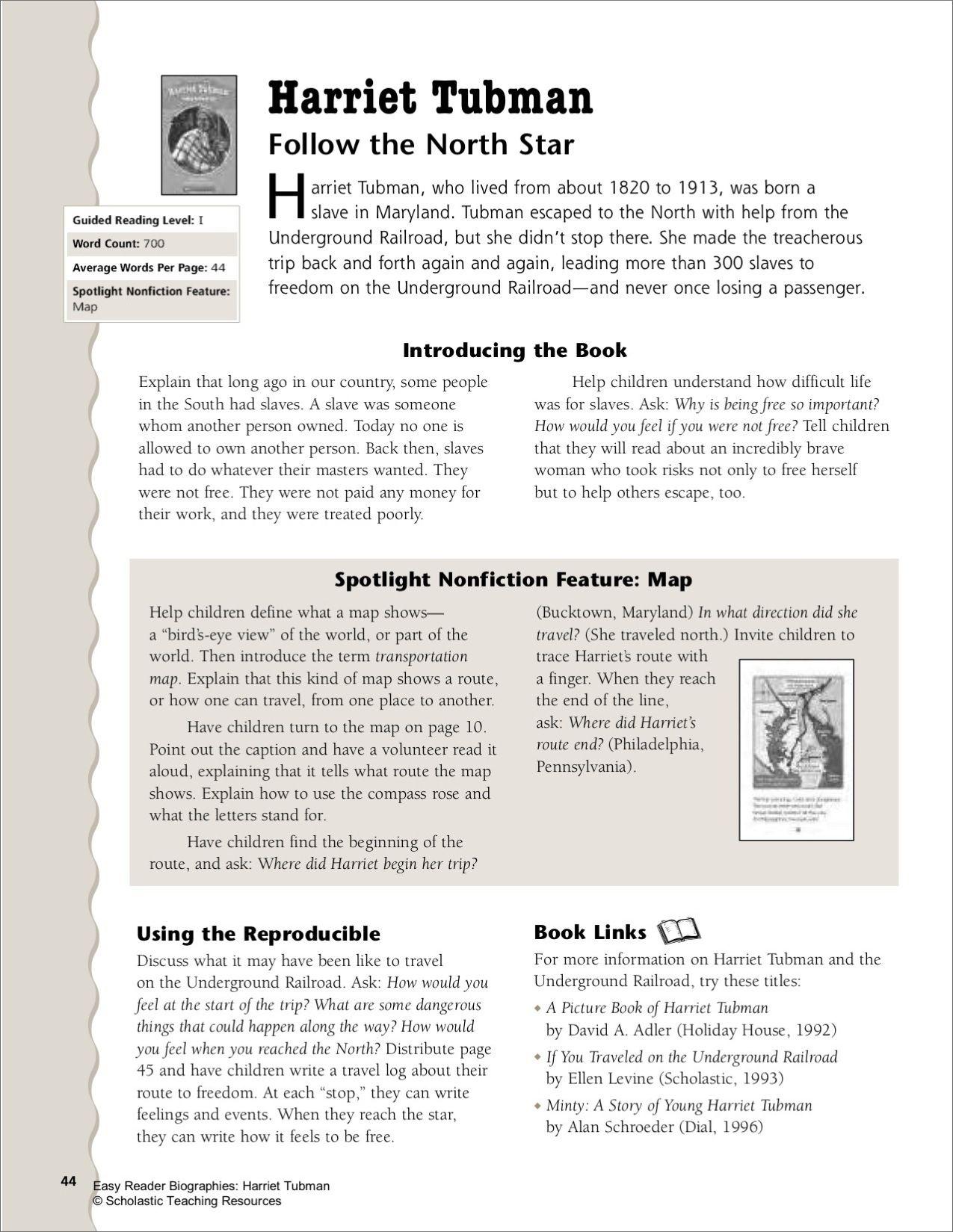 Harriet Tubman Lesson Plan Amp Worksheet
