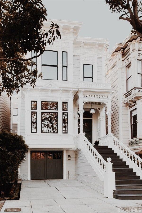 49 Most Popular Modern Dream House Exterior Design Ideas 3 In 2020: San Francisco Home Design Inspiration. White House With Dark Window Trim, Front Door, Garage