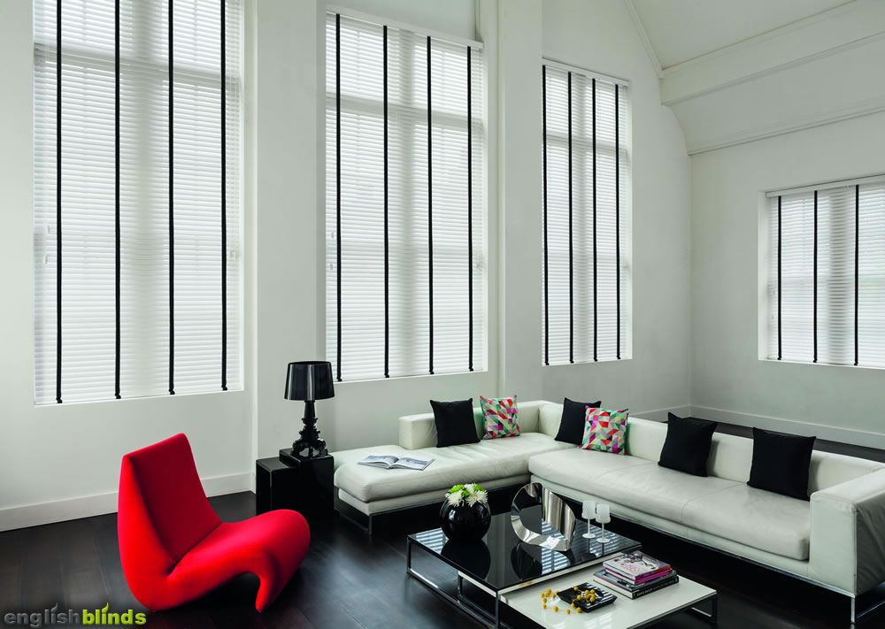 White Wooden Blinds With Black Tapes In A Black And White Room