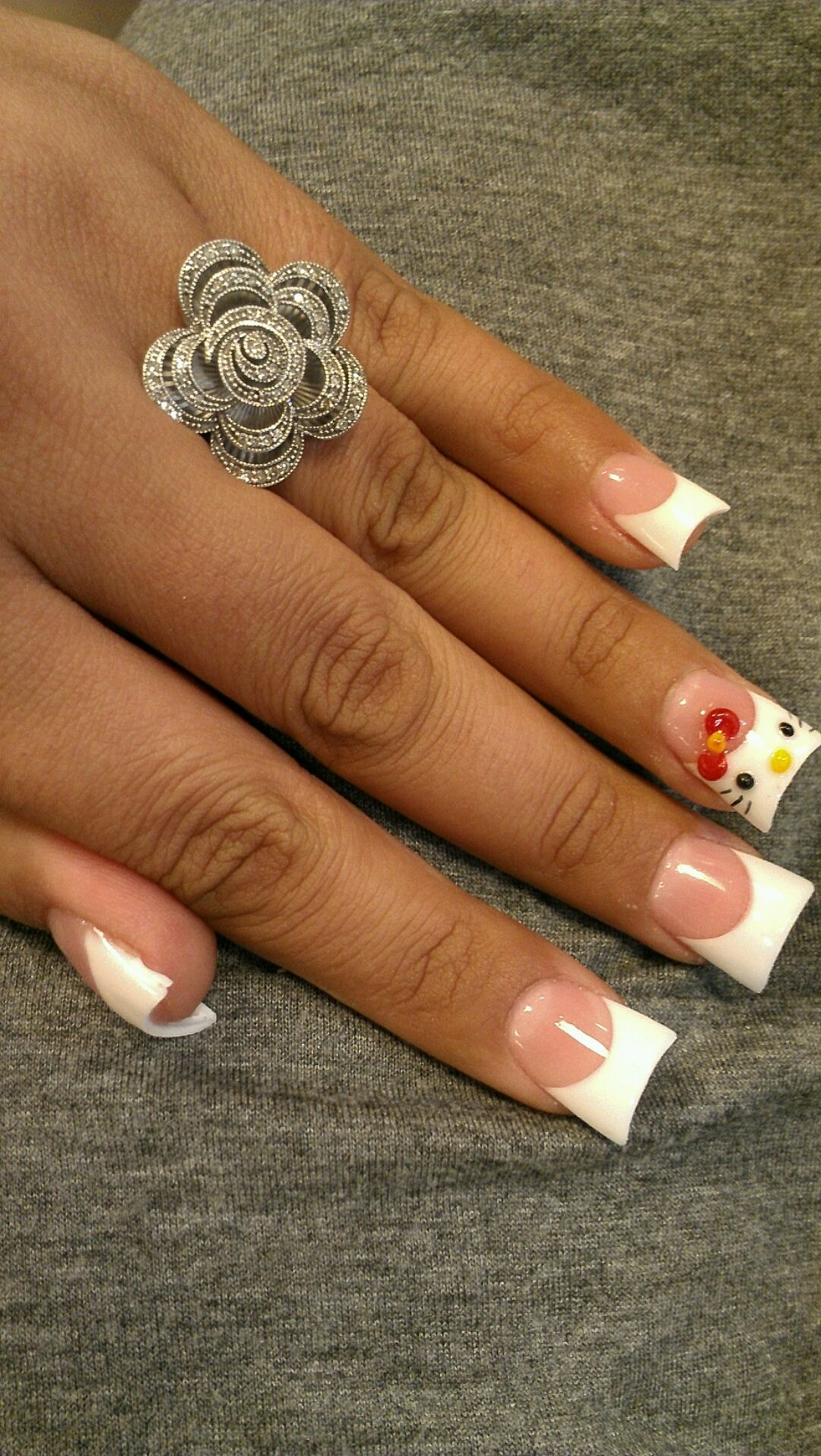 Flare Tip Nails With Half Moon And The One Only Hello Kitty