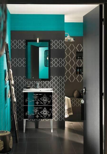 Bleu Turquoise Et Gris Anthracite Salle De Bain Marocaine Salle De Bain Turquoise Et Deco Salle De Bain