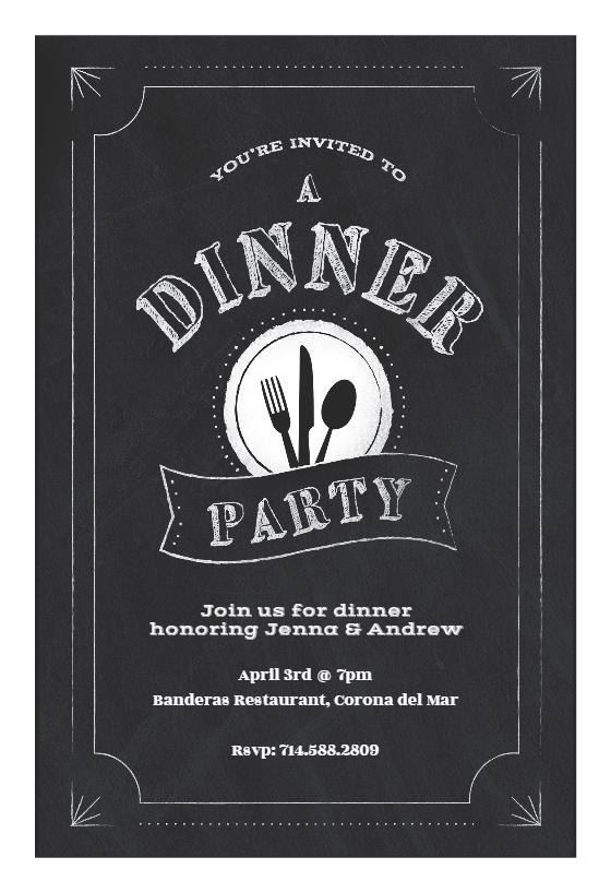 Chalk Board Dinner Party Invitation Template Customize Add Text