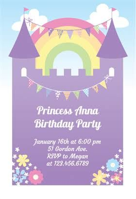 1st birthday invitations templates free for a princess party