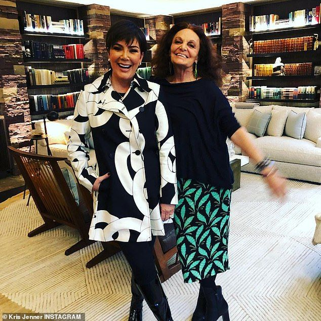 Kris Jenner sports chic black and white coat while dodging the rain ... 6d345d48f59c2