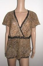 NBW Womens Lane Bryant Animal Leopard Print Sheer Blouse Top 14/16