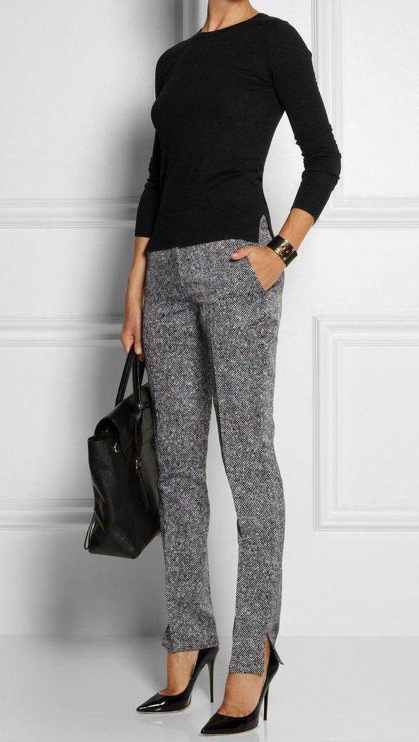 Business Casual Grey Pants With A Black Top
