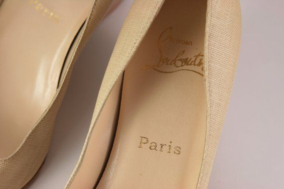 62bdb190688d Christian Louboutin Shoes Leather Beige Canvas Wood Wedges Made in Italy  38.5