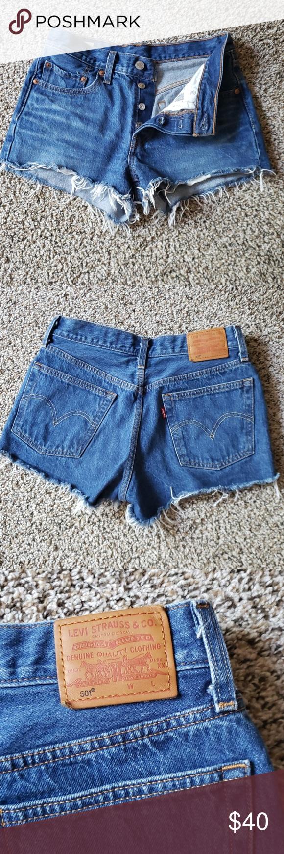 Levi 501 denim cutoff shorts Only worn once, like new, Levi 501 cutoffs. Levi's Shorts Jean Shorts #denimcutoffshorts