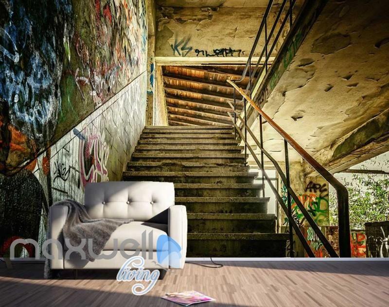Optical Illusion Stair Graffiti Art Art Wall Murals Wallpaper Decals Prints Deco