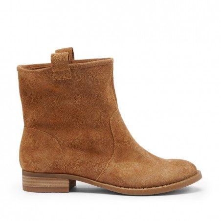 Tan Suede 1 Inch Round Toe Booties