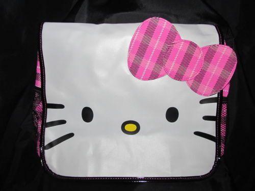 New O Kitty Messenger Bag Sanrio Laptop White Face Pink Plaid Trim Gift Ebay