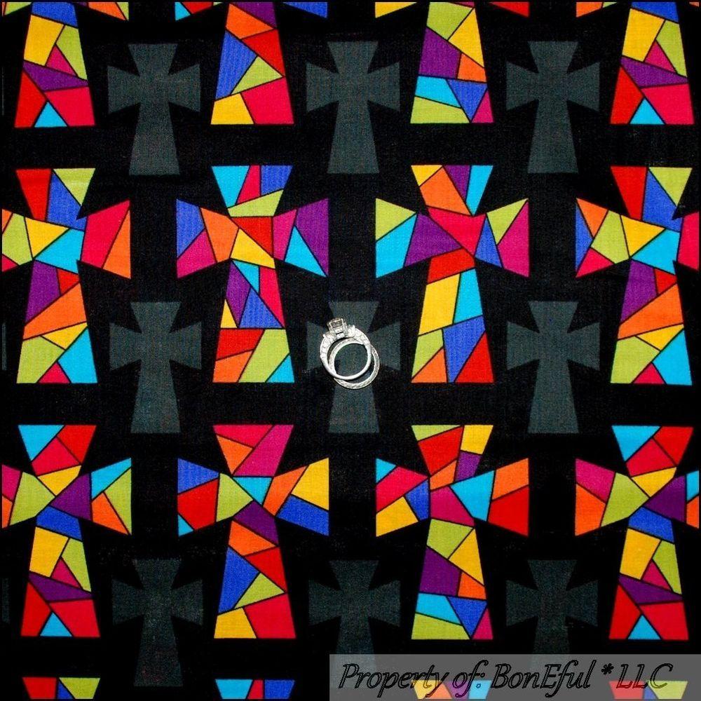 BonEful Fabric FQ Cotton Quilt Black CROSS Faith Christian God ... : religious quilting fabric - Adamdwight.com