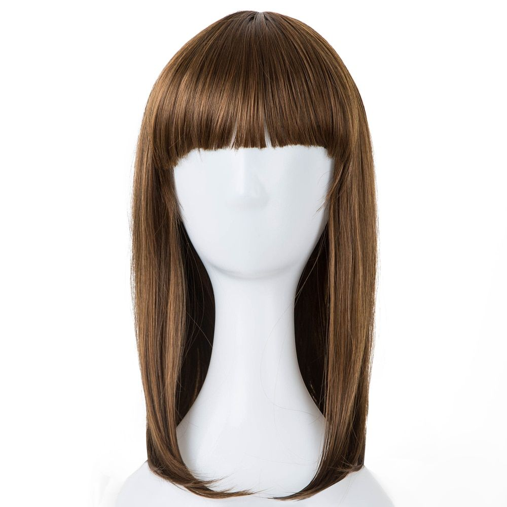 Cosplay Wig Fei-show Synthetic Heat Resistant Fiber Wavy Sky Blue Inclined Bangs Hair Student Hairpiece Short Salon Party Peruca Synthetic None-lacewigs Synthetic Wigs