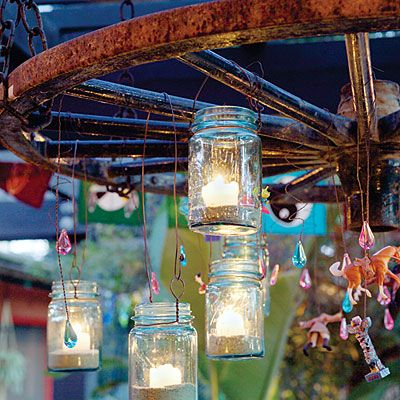 Chandelier made with wheel and mason jars