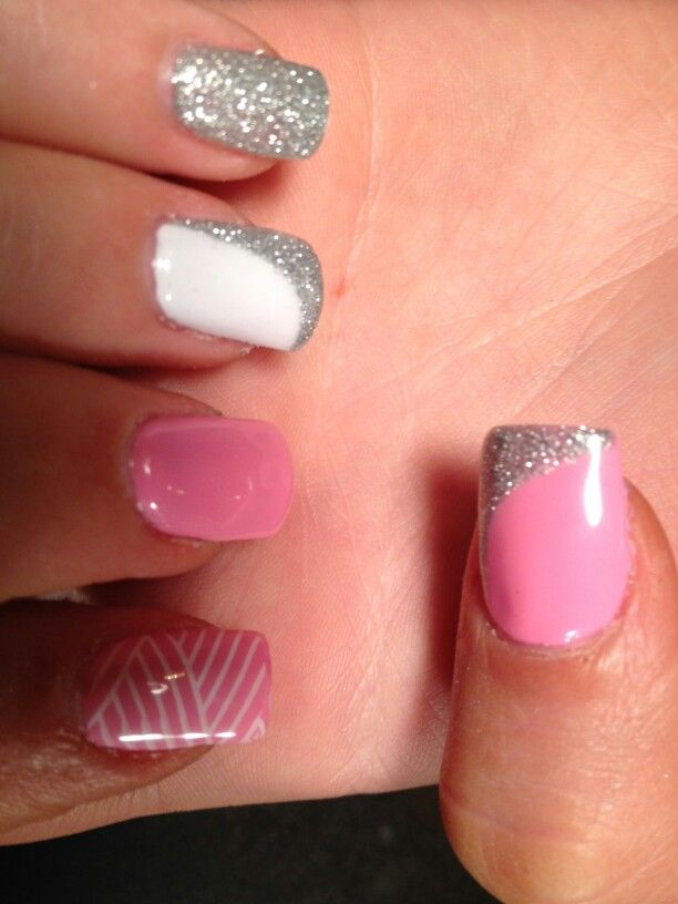 Jinkie pink biosculpture with silver glitter and snow white | Nails ...