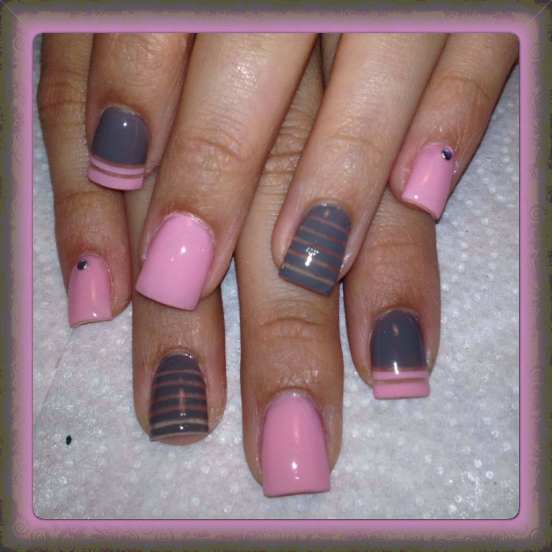 Pink and gray nails my passion pinterest gray nails pink and gray nails prinsesfo Image collections