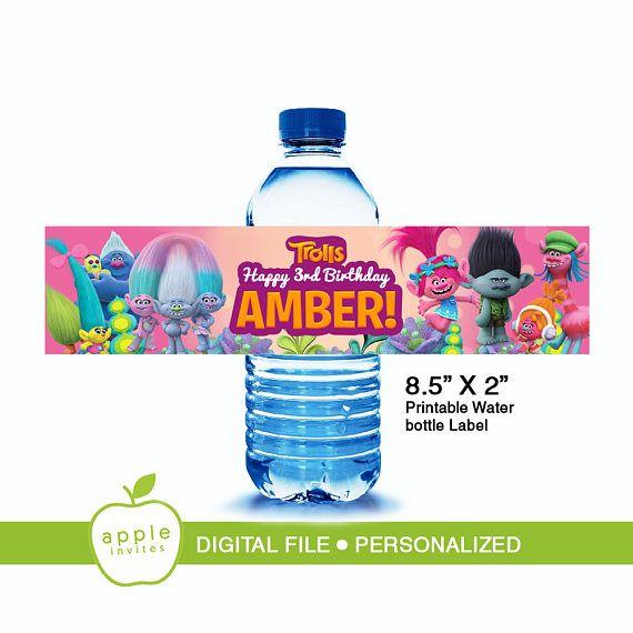 Trolls Water Bottle Label Trolls Water Bottle Trolls Label Printable Water Bottle Labels Water Bottle Labels Bottle Labels