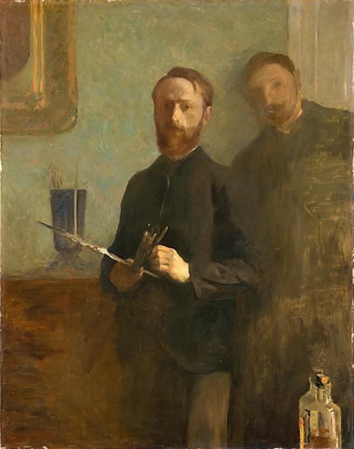 simonerein:  Edouard Vuillard - Self Portrait with Waroquy - 1889 The original photobomb.