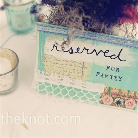 The goal for the reserved table cards was to make them as bright, colorful, and quirky as possible. Tahni painted and collaged them together with fun fabric and paper.