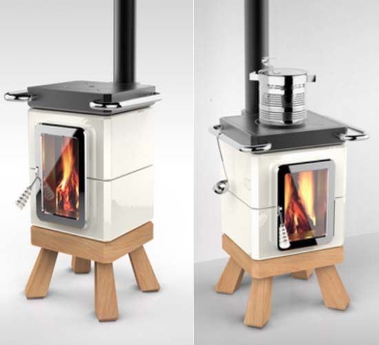Adriano design presents cookingstack wood stove and for Small house heating systems
