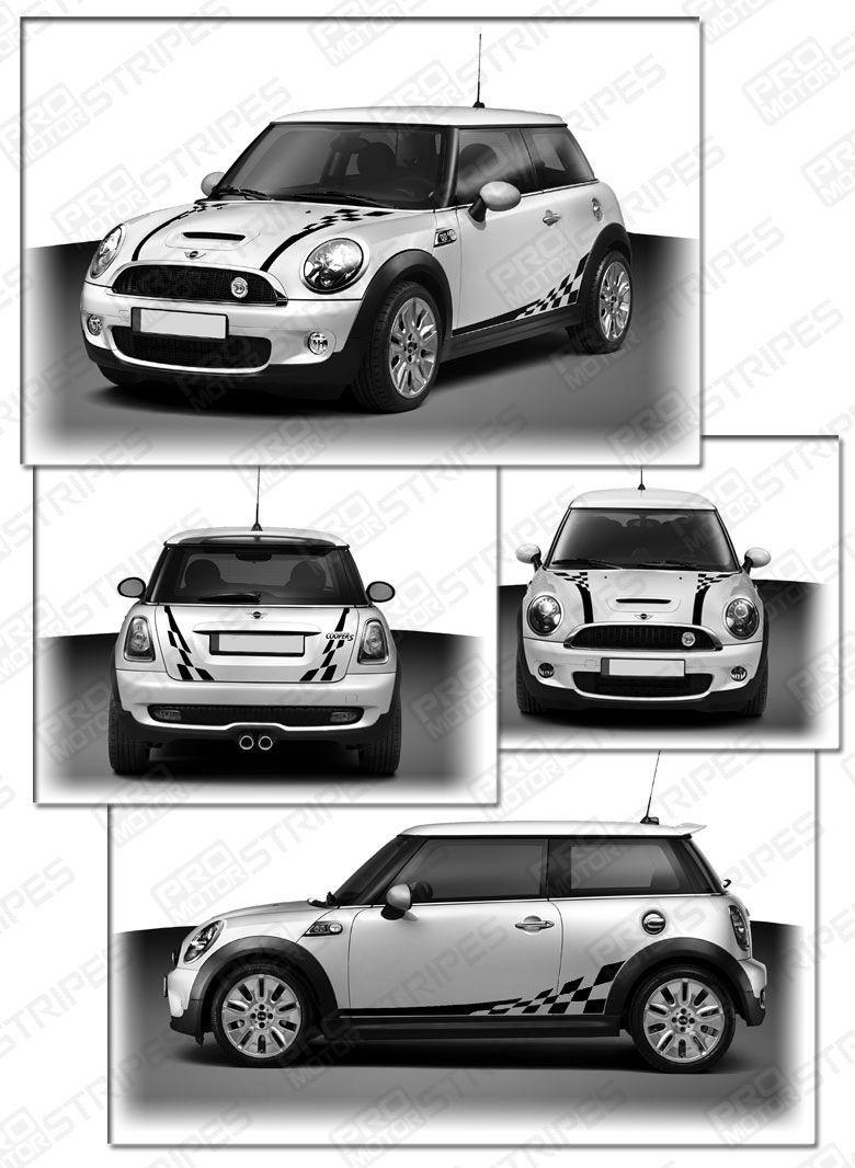 Details About 2007 2017 Mini Cooper Checkered Hood Side Back Bonnet