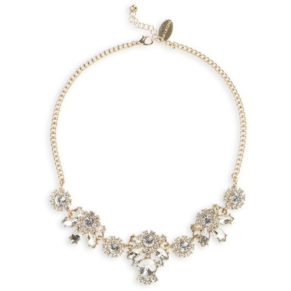 Women's Natasha Couture Crystal Statement Necklace (2.065 RUB) ❤ liked on Polyvore featuring jewelry, necklaces, gold, bib statement necklace, crystal necklace, natasha couture jewelry, polish jewelry and sparkle jewelry
