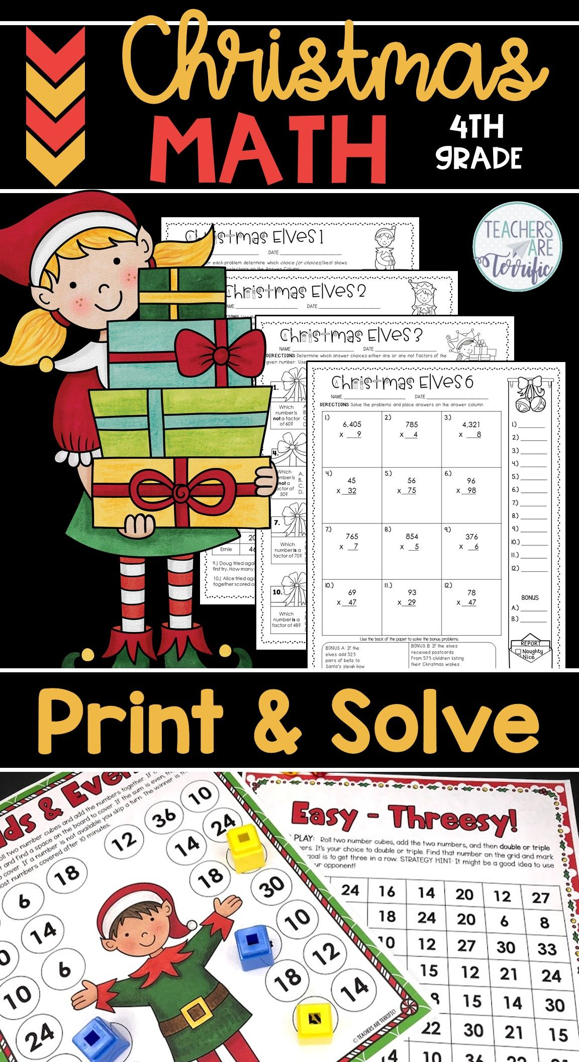 Christmas Math Worksheets Print And Solve Gr 4