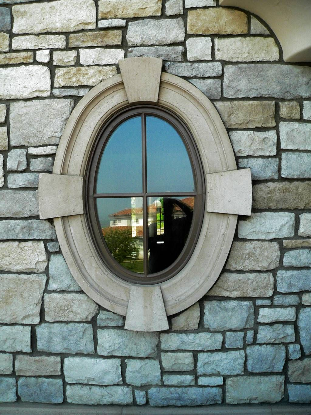 Oval window frame ventura cast stone makings of a dream pinterest oval windows cast for Round exterior window