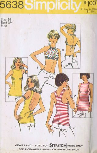 2307ce75e35 Vintage Knit Halter Top Sewing Pattern 70s Simplicity 5638 Size 14 Bust 36  Uncut