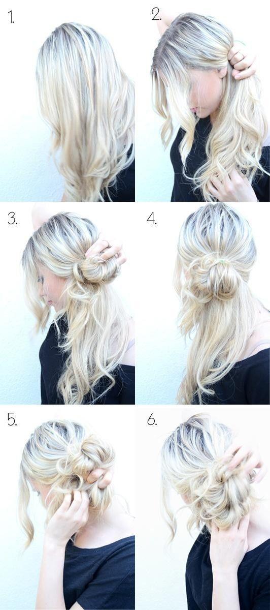 Easy Messy Bun Updos Tutorial Cute Hairstyles Hair Styles Updo Hairstyles Tutorials Hair Inspiration