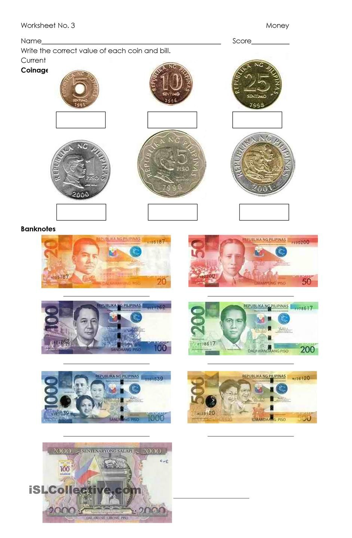 Money - Philippine Coins and Bills   Money worksheets [ 1440 x 941 Pixel ]