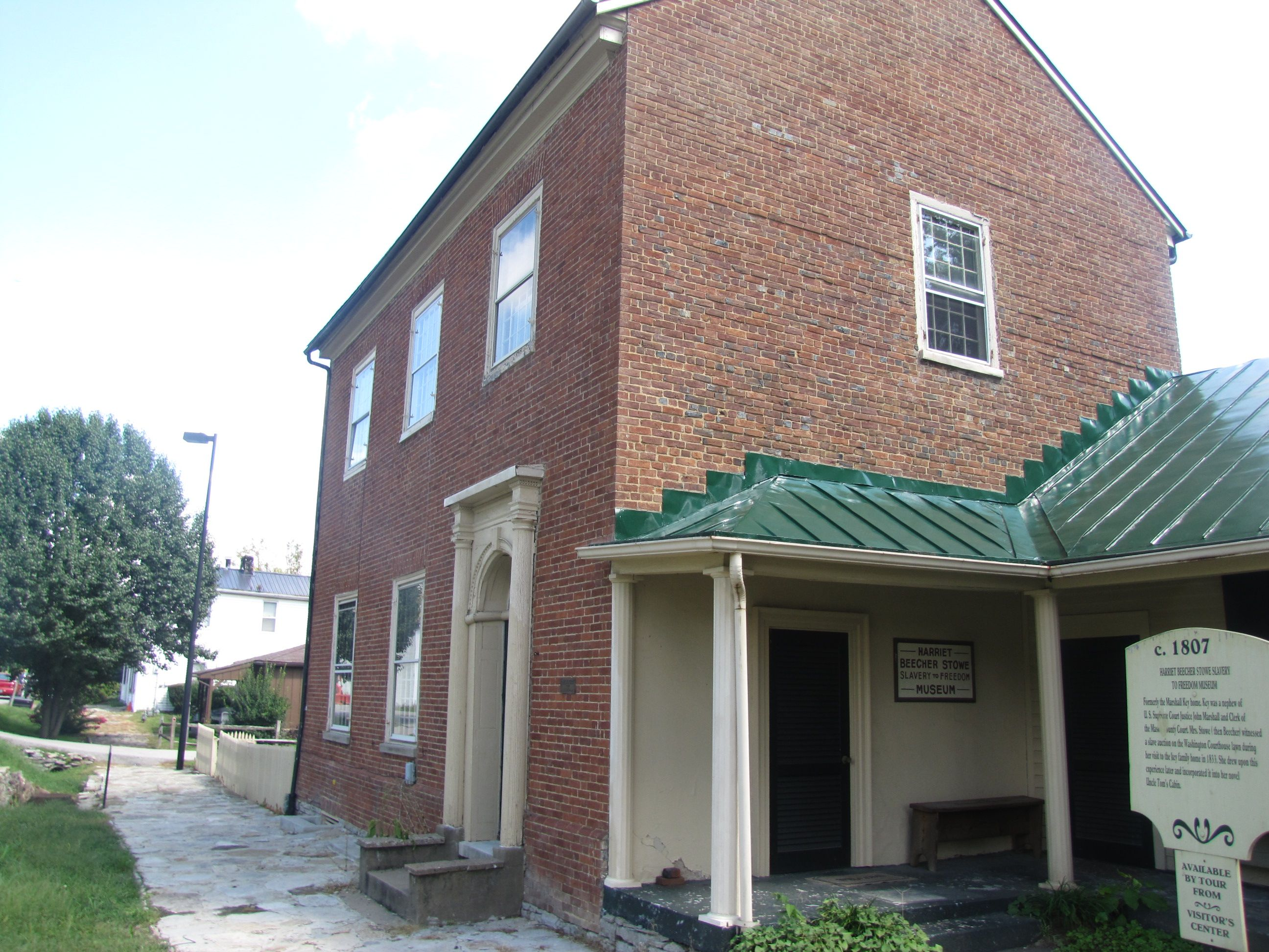 """Th Marshall Keys house in Washington, KY. IN 1830, while visiting here from Cincinnati, Harriet Beecher (Stowe) witnessed a slave auction at the nearby courthouse. Her experience eventually wound up in her book, """"Uncle Tom's Cabin""""."""