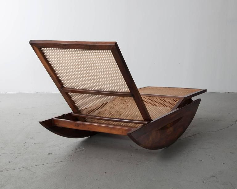Sedie A Dondolo Depoca : Rocking chaise longue with cane seat by joaquin tenreiro
