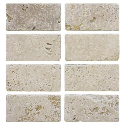 Jeffrey Court Light Travertine Beige Cream 3 In X 6 In Tumbled Travertine Wall Tile 8 Pack 99101 The Home Depot Travertine Wall Tiles Travertine Jeffrey Court