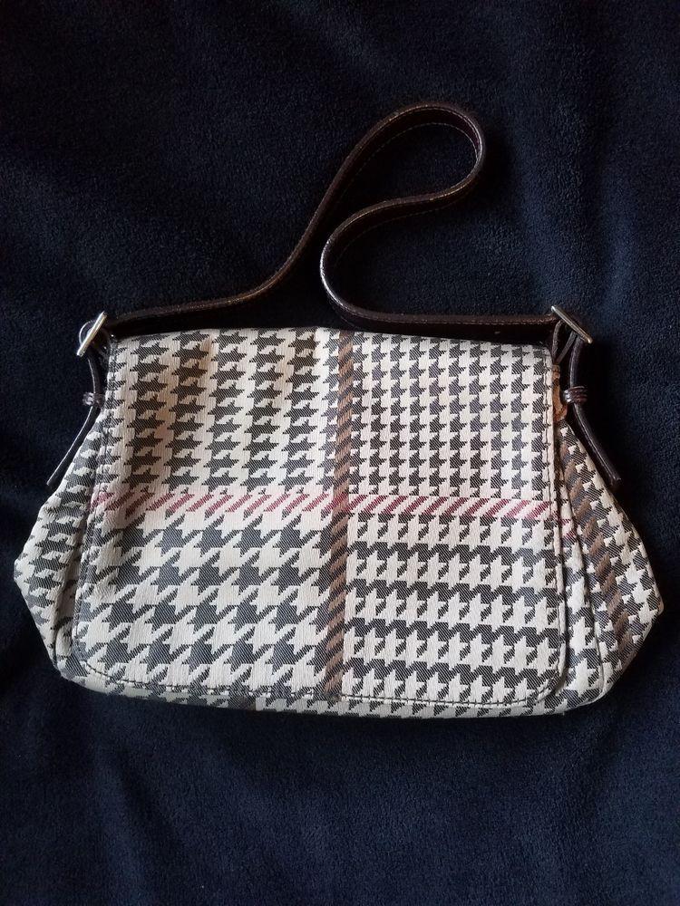 Ralph Lauren Houndstooth Brown Tan Plaid Leather Trim Handbag Purse   fashion  clothing   0cc1a75f2b