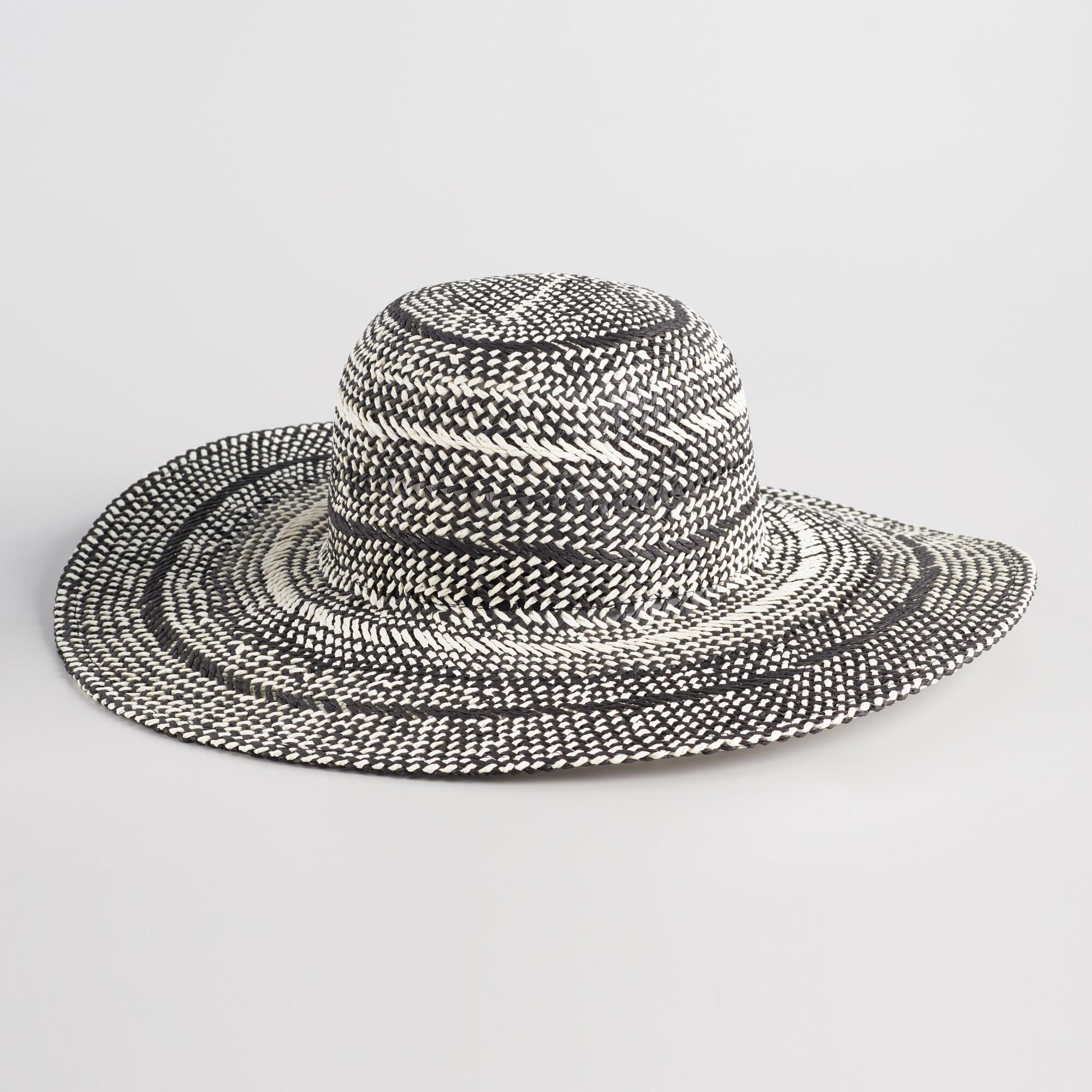 f25b9643176 Black And White Striped Sun Hat by World Market in 2018