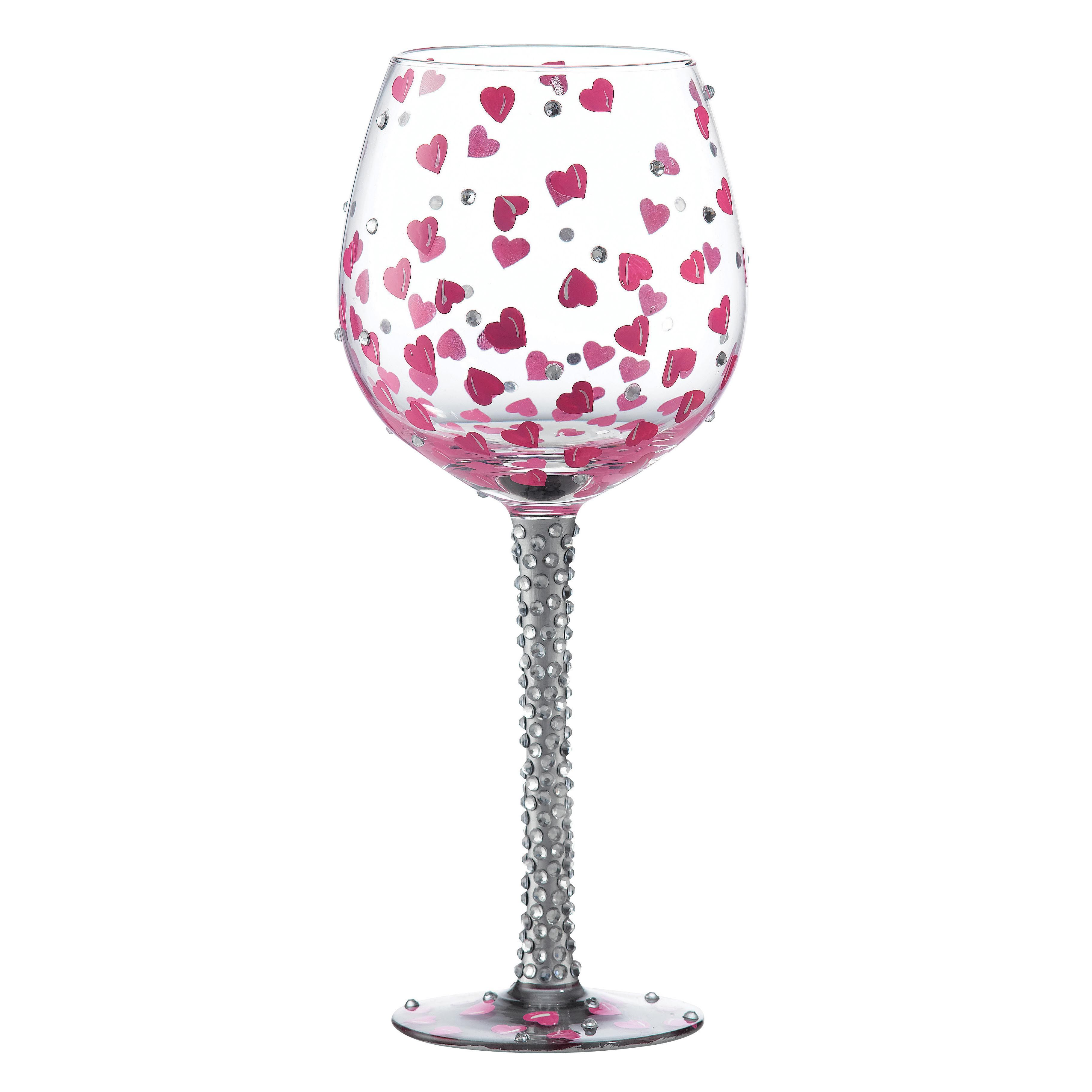 GLS20-5524H Superbling Pretty Girl Extra Large Wine Glass- You will always be beautiful. Be what you want to be, not what others want you to be. Covered in pink hearts and tons of rhinestones, make someone feel extra special with this gift #heart #lolita #bling