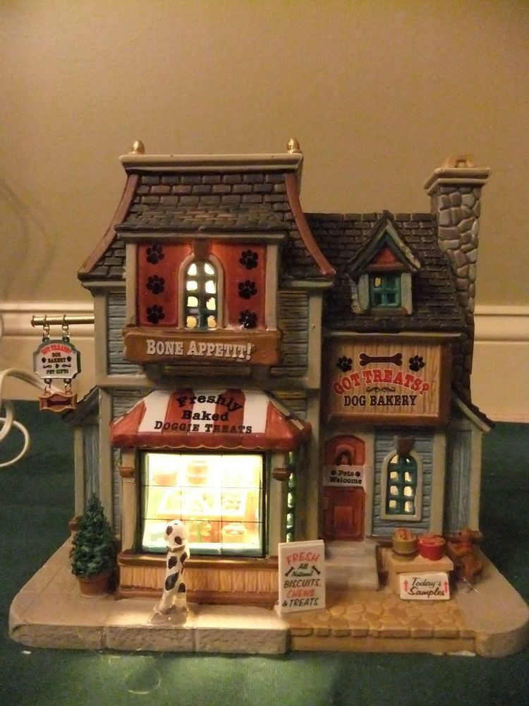 lemax porcelain christmas village dog doggie bakery pet shop lighted house store lemax christmas village